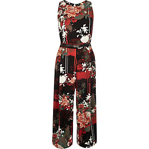 Red printed sleeveless jumpsuit