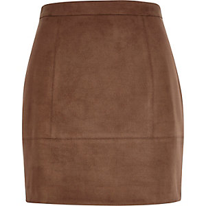 Dark brown faux-suede A-line skirt