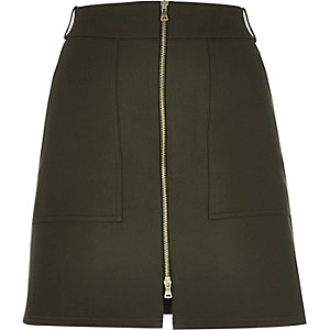 Khaki structured zip-up A-line skirt