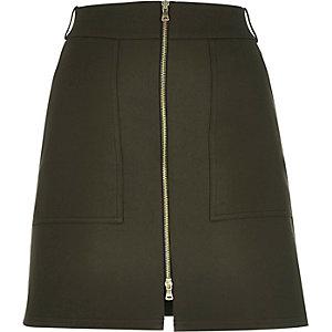 Khaki structured zip-up A-line skirt