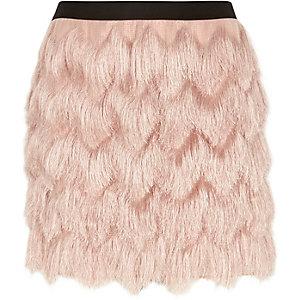 Light pink fringed mini skirt