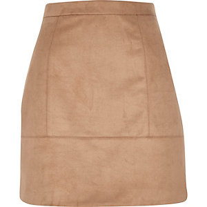 Beige faux suede A-line skirt
