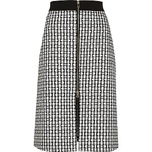Black print zip-up midi skirt