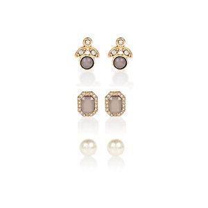 Gold tone pearl earring stud pack