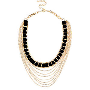 Gold tone black woven chain necklace