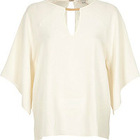 Cream drape cut-out t-shirt