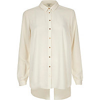 Cream open back button-up shirt