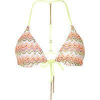 Pink reversible zig zag triangle bikini top
