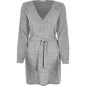 Grey belted V-neck tunic