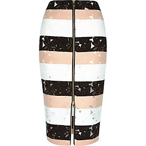 White stripe lace pencil skirt