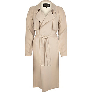 Beige draped trench coat