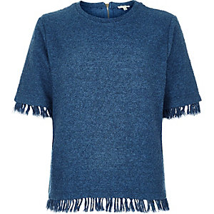 Dark blue fringed trim t-shirt