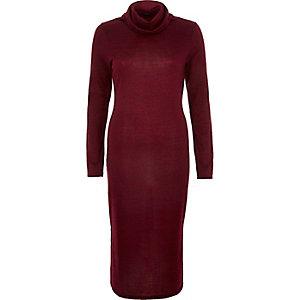 Dark red cowl neck midi dress