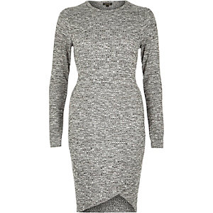 Grey ribbed wrap bodycon dress