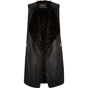 Black faux suede sleeveless jacket