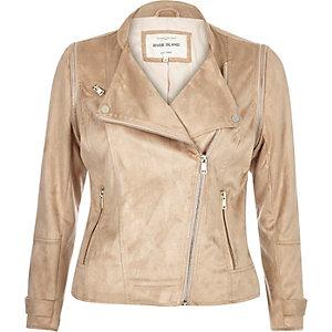 Beige faux suede biker jacket