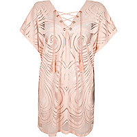 Light pink lace-up neck tunic caftan