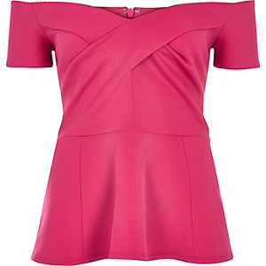 Bright pink bardot peplum top