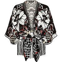 Black floral print tie front kimono jacket