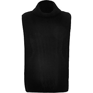 Black knitted longline collar