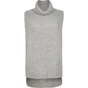 Grey knitted roll neck open jumper