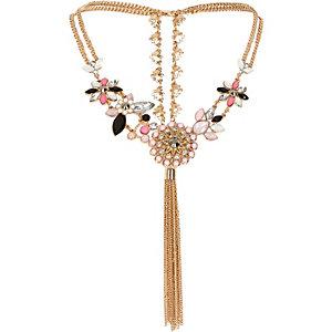 Gold tone pink tassel back necklace