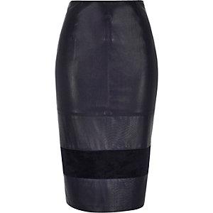Navy leather-look block panel pencil skirt