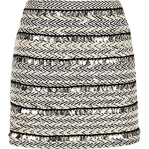 White embellished woven skirt