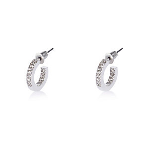 Silver tone embellished hoop earrings