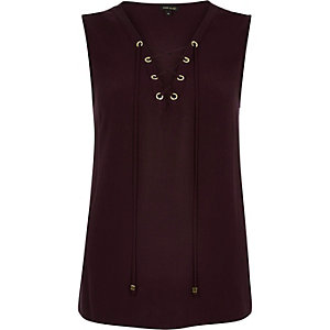 Purple eyelet lace up vest