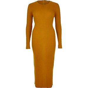 Mustard yellow ribbed bodycon midi dress