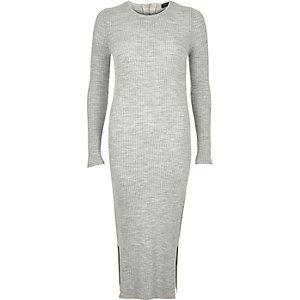 Grey ribbed long sleeve midi dress