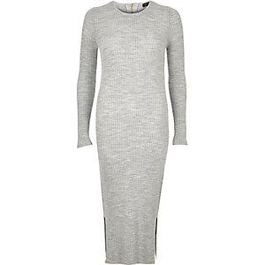 Grey ribbed long sleeve midi dress