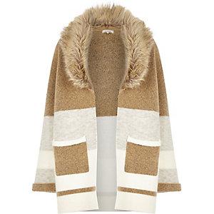 Camel stripe chunky wool-blend cardigan