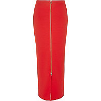 Red ribbed zip front maxi skirt