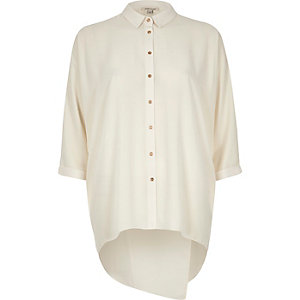 Cream open wrap back shirt