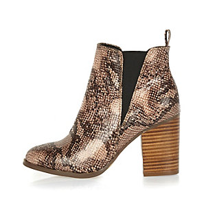 Beige snake print ankle boots