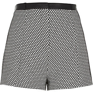 White geo print high waisted shorts