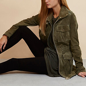 Khaki RI Studio suede utility jacket