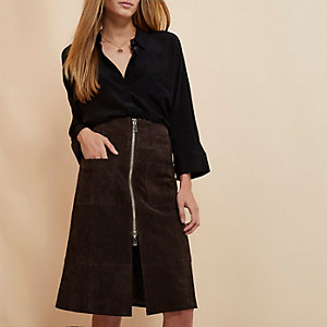 Brown RI Studio suede zip-up skirt