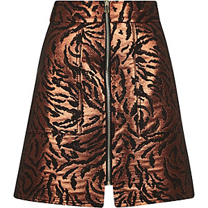 Bronze metallic zip-up A-line skirt