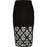 Black premium lace pencil skirt
