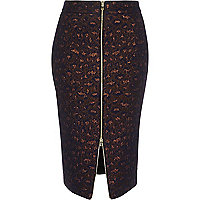 Navy blue metallic zip-up pencil skirt