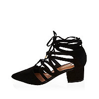 Black pointed lace-up mid heel shoes