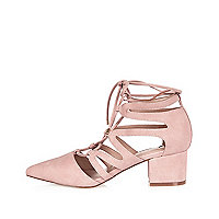 Pink pointed lace-up mid heel shoes