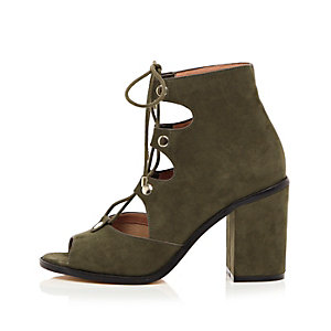 Khaki ghillie lace-up block heels
