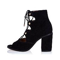 Black ghillie lace-up block heels