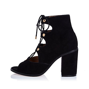 Black ghillie lace-up block heels
