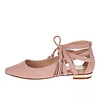 Pink pointed lace-up flat shoes