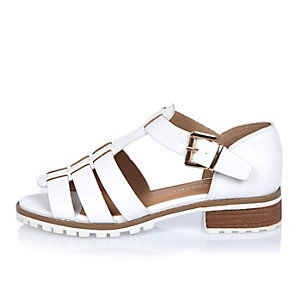 White strappy open toe geek shoes